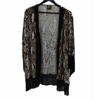 BLU MOON Fringe & Snake Print Kimono Size XS/S