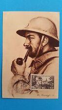 FRANCE CARTE MAXIMUM YVERT 451 SOLDAT FANTASSIN 40C + 10C BAGEUX 1947  L453