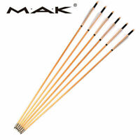 """6Pcs 30"""" Archery 8.5mm Wooden Arrows White Turkey Feathers Iron Tips Hunting"""