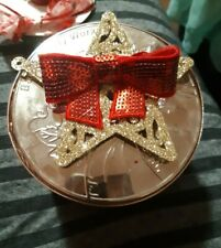 CANDLE Lid Magnet top RED BOW on gold STAR for BATH & BODY WORKS 3 wick