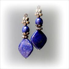 Lapis Lazuli vintage style bronze drop earrings clip on or pierced