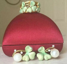 Masriera Art Nouveau Pearl & Enamel Clover Earrings/Ring Set, Will Separate