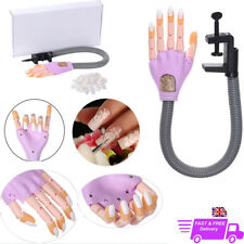Makeup Nail Art Training Hand Adjustable Size Practice Model+Clamp+100 Nail Tips