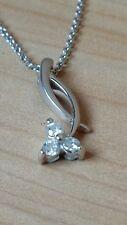 Gorgeous 9ct White Gold, Flower shape, Diamond pendant.Brand New in Box