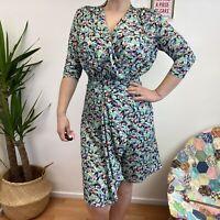 Vintage Look 50's 80's Dress Wrap Over Knee Length Sz S 8 10