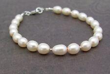 PINK PEARL BRACELET STERLING SILVER Freshwater Cultured Pearl Minimal Dainty