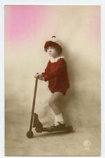 c 1922 Child Children Cute GIRL on TOY SCOOTER tinted photo postcard
