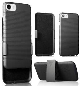 Slim Black Ribbed Case Cover and Belt Clip Holster Holder for iPhone SE 2020