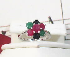 Natural Gemstones with 925 Sterling Silver Ring. Size 6 1/2. SSRF002