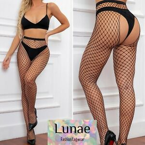 tights crotchless fishnet medium-net black fence one-size UK 8-14 erotic rave