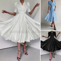 Women V Neck Puff Sleeve Silky Satin Dress Evening Party Prom Gown Wrap Dresses