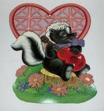 Valentines Diecut Skunk Felted Heart Flowers Guitar