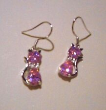 Red,pink,purple,clear,and champagne colored cat dangle earrings,You choose