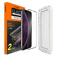 [2-PK] iPhone XS XS MAX XR Screen Protector [Glass FC] Spigen®EZ FIT Tray Cover