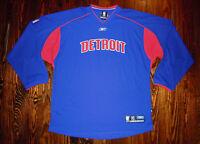 Detroit Pistons Shirt Warm Up Vintage NBA Basketball Reebok Bad Boys Motown XL
