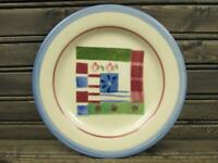 Mount Vernon Quilt by Hartstone Salad Plate Blue Band Red Check & Floral Border