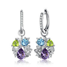 JewelryPalace Amethyst Peridot Topaz Dangle Earrings 925 Sterling Silver
