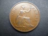 1950 PENNY KING GEORGE THE SIXTH LOW MINTAGE YEAR, EXTREMELY FINE CONDITION.