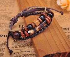 G276 Brown Cool  Beach Leather Hemp Wood Beads Tooth Bangle Bracelet Cuff Men's