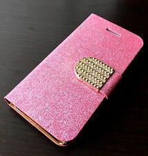 For iPhone 5C - PINK GLITTER Diamond Bling Card Wallet Holder Pouch Case Cover
