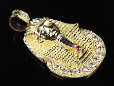 Solid 10K Yellow Gold Egyptian Pharaoh King Tut 2 Inch Diamond Cut Pendant Charm
