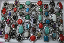 Wholesale Lots 45pcs Colorful Big Natural Stone Alloy Adjustable Lady's Rings
