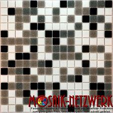 Glasmosaik Fliese schwarz grau braun weiss Mix in 20x20x4mm Art: ES-52-28535_b