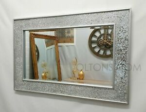 Crackle Mosaic Design Wall Mirror Silver Frame Bevelled Glass 90X60cm Handmade