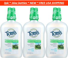 3pk Tom's of Maine Wicked Fresh! Mouthwash Cool Mountain Mint SLS Free 16oz each