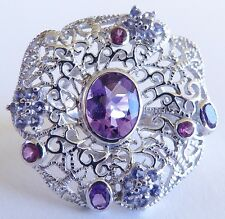 GENUINE! RARE 1.74cts! Tanzanite, Rhodolite & Amethyst Ring Sterling Silver 925!
