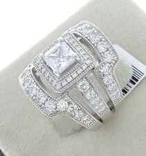 Women Ladies Solid 925 Sterling Silver Solitaire CZ HALO Bridal Wedding Ring Set