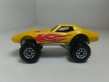 1975 Hot wheels Corvette Coupe 4x4 Monster Wheels YELLOW Flames 1/64 Diecast