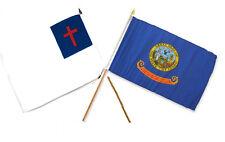 "12x18 12""x18"" Wholesale Combo Christ Christian State Idaho Stick Flag"