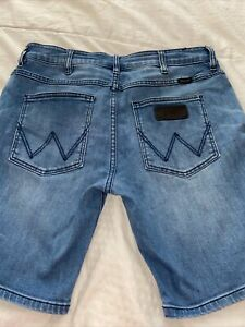 mens WRANGLER Cigarette denim stretch shorts SZ 32