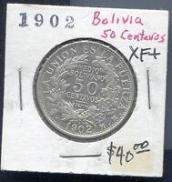 BOLIVIA - BEAUTIFUL HISTORICAL SILVER 50 CENTAVOS, 1/2 BOLIVIANO, 1902