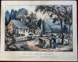 Old Oaken Bucket Frontier Homestead American 1872 Currier & Ives print