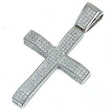 Heavy Hip Hop 3.5CT Micro Pave Cubic Zirconia Cross .925 Sterling Silver Pendant