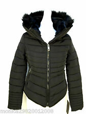 ZARA BLACK QUILTED PADDED WINTER JACKET WITH FUR COLLAR SIZE MEDIUM