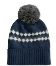 $128 CLUB ROOM Men NEW UNISEX BLUE GRAY POM WINTER FAIR ISLE HAT CAP BEANIE O/S