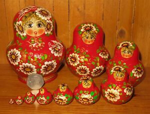 SLIGHT SECONDS Daisies RED GOLD Matryoshka Nesting Dolls Russian Matryoshka10