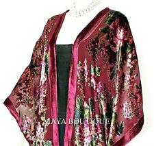 Caftan Kimono Jacket Silk Burnout Velvet Cherry Multi Gypsy Rose Maya Matazaro