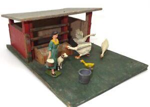 BRITAINS PRE-WAR FARM - WOODEN GOOSE PEN & LEAD FIGURES - ULTRA RARE