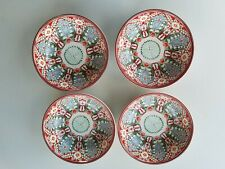 Pottery Barn Mezze Floral Bowls Red S/ 4 #3594