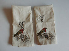 "Pottery Barn Bird Embroidered Guest Towel,Set of 2. ""P/R""  New!"