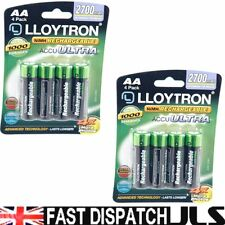 8 x Lloytron AA Rechargeable Batteries 2700 mAh Rechargable 2 x 4 Packs