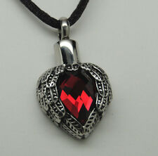 HEART CREMATION JEWELRY RED HEART CREMATION URN NECKLACE JANUARY JULY MEMORIAL