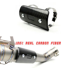 100% Polished Real Carbon Fiber Motorcycle Exhaust Middle Pipe Heat Shield Cover
