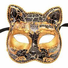 Gatto Cat Masquerade Mardi Gras Venetian Music Costume Party Mask - Black Gold