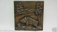 Wandbild Gusseisen Relief Platte Jagd  Wildschwein Kamin Platte 3D