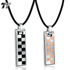 TT Black/Rose Gold S.Steel Chessboard Dog Tag Pendant Necklace Set for Couple